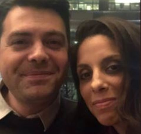 Jaryn Arnold Rothman on right and her husband Noah Rothman on left click a face selfie.