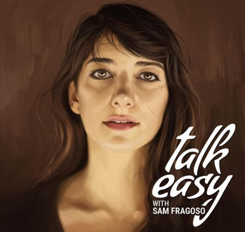 Sheila Vand, black hair and black t-shirt in the poster of Talk Easy.