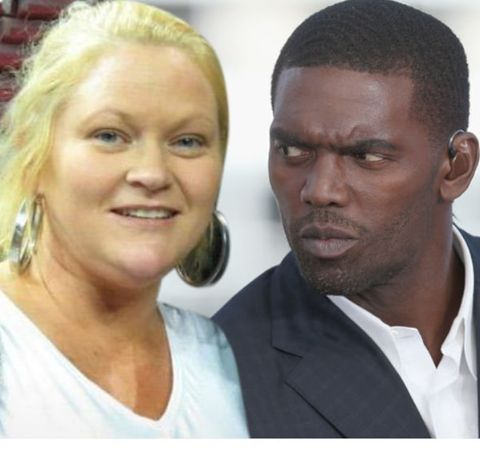 Libby Offutt in a white dress with celebrity partner Randy Moss.