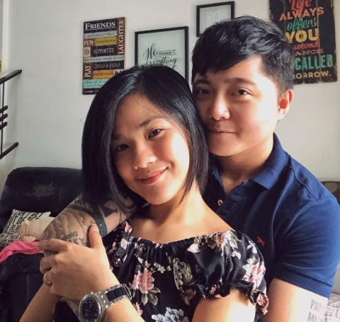 Jake Zyrus poses a picture while hugging Alyssa Quijano