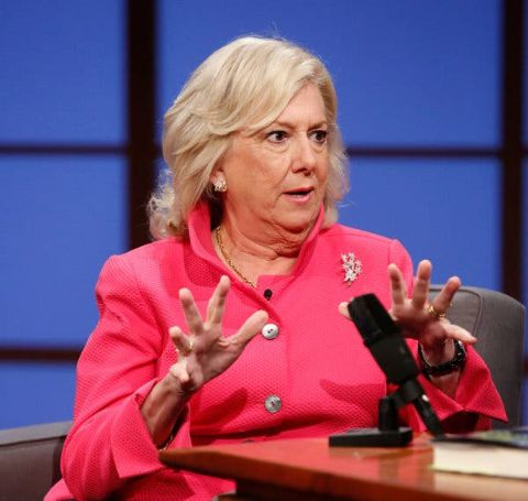 Former Attorney Linda Fairstein in a pink dress at an interview.