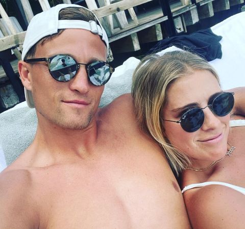 Aaron Schoenfeld chilling  in the beach with girlfriend Abby Dahlkemper.