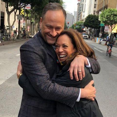 Douglas Emhoff hugging his wife, Kamala Harris.