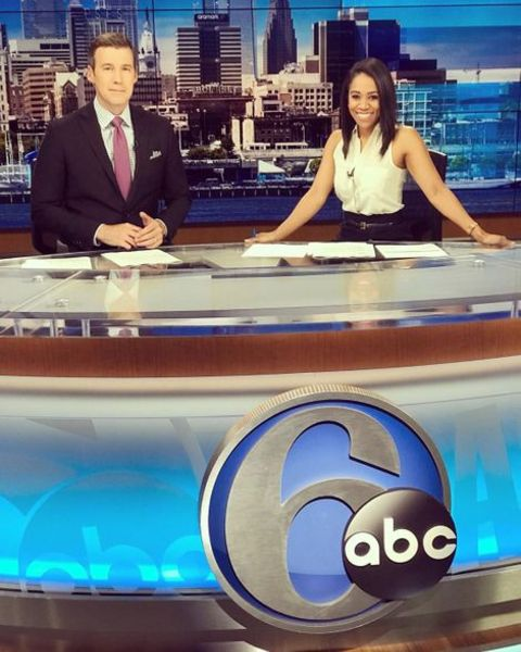 Christie Ileto along with her co-anchor at the 6abc studio.