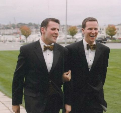 Mark Zinni and Garith Fulham in a wedding suit.