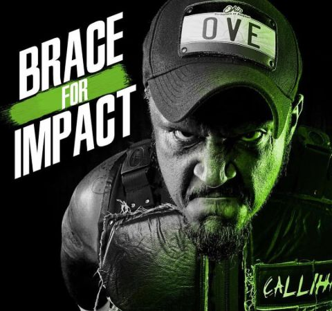 Sami Callihan in black poses for the graphic wallpaper of Impact Wrestling.