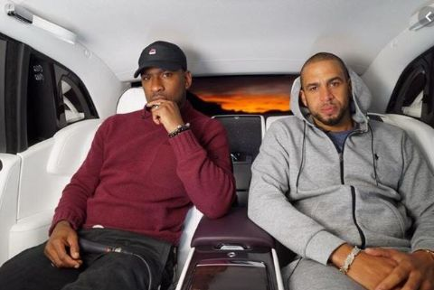 Skepta and his friend in a Rolls Royce advertisement.