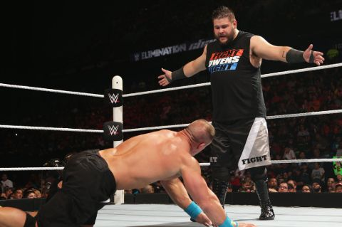 Kevin Owens in action with John Cena in Elimination Chamber non title match which he won.