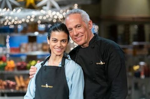 Geoffrey Zakarian giving a pose along with his wife, Margaret Anne Williams.