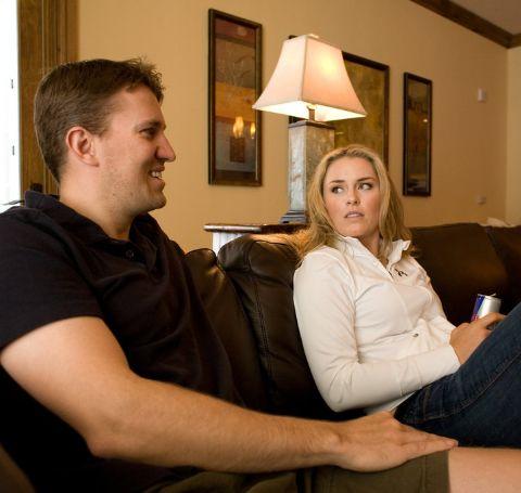 Lindsey Vonn in white shirt with her ex-husband Thomas Vonn (black t-shirt)