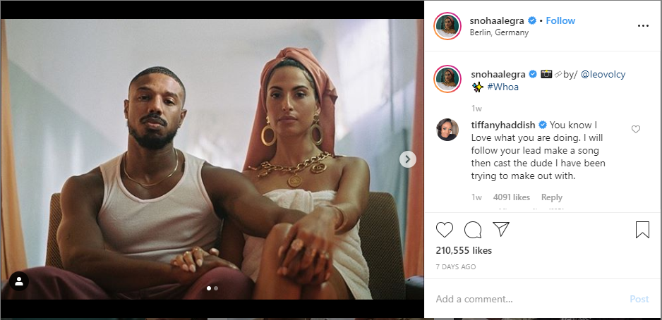 Tiffany Haddish commented on Snoh's Instagram picture from the music video Whoa in which Snoh and Michael B. Jordan are seen together.