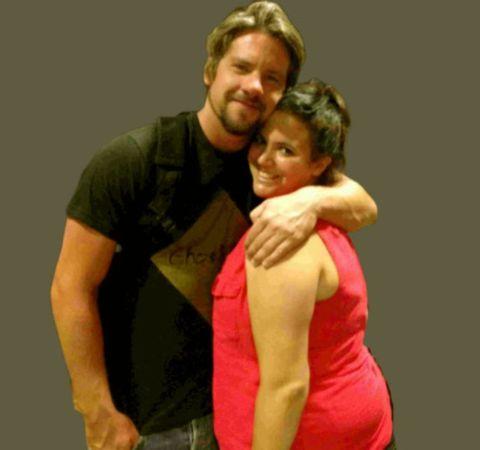 Zachary Knighton on black t-shirt with ex-wife Hang Knighton.