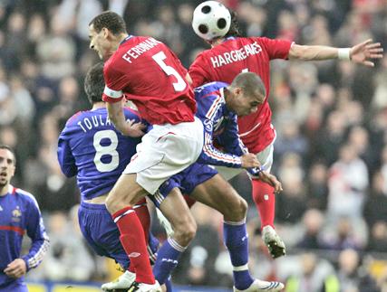 David Trezeguet Taking The Ball Against The Opponent