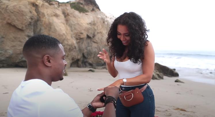 Simeon Panda proposing his girlfriend Chanel Brown