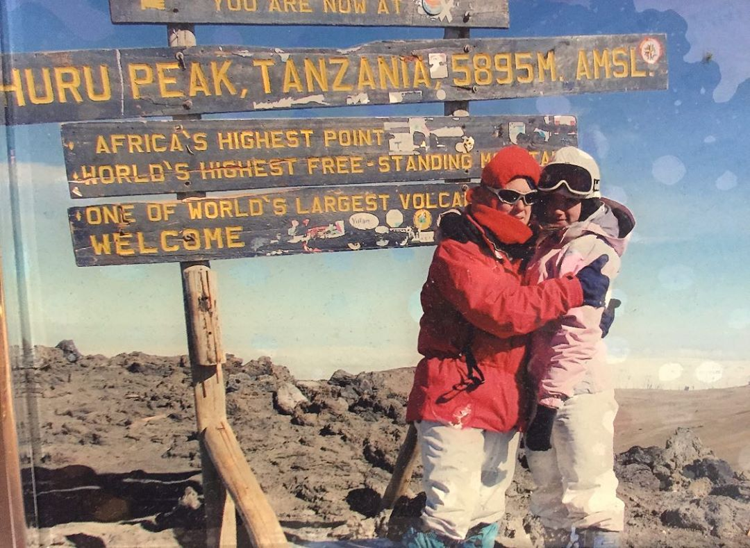 Chloe Bennet and her mom at the top of Mt. Kilimanjaro