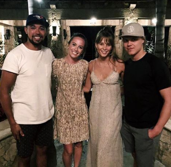 Matt Dumba with his girflriend, Courtney along with Mikael Grandlund, and Emmi