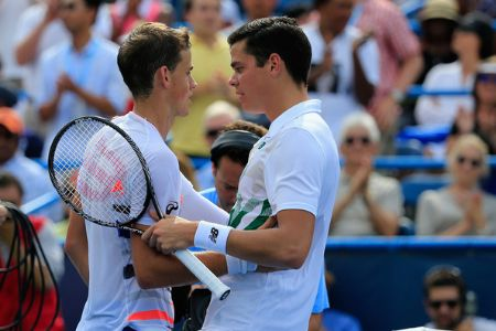 Vasek Pospisil With Milos Raonic at their match