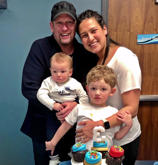 Nick Nurse with his wife and kids