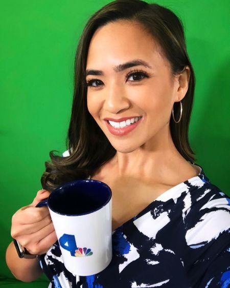 Shanna Mendiola enjoying a cup of coffee in NBC studio