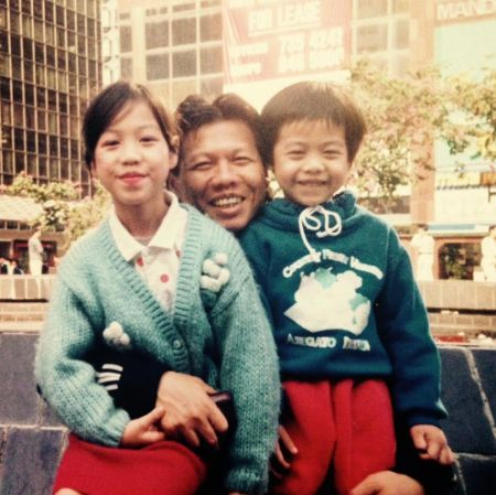 Bolo Yeung with his daughter and son