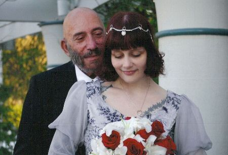 Susan L. Oberg with her late Husband Sid Haig on their wedding day