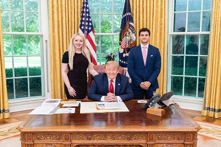 Michael Boulos with his Fiancé and her father Donald Trump