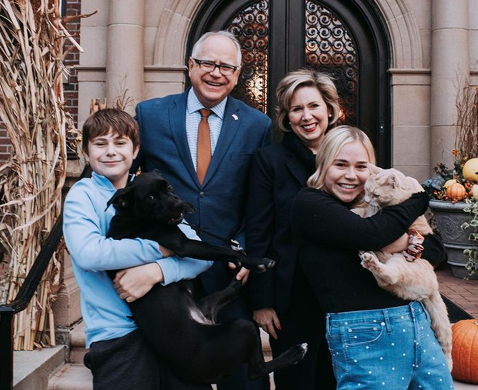 Tim Walz with his wife and their kids