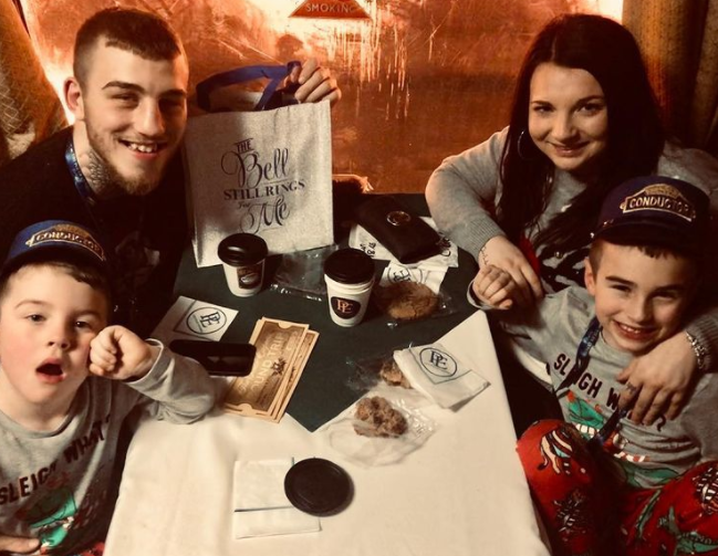 Sam Eggington with his wife, Charlotte and their kids