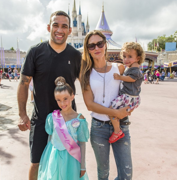Fabricio Werdum at Magic Kingdom Park with his wife and daughters