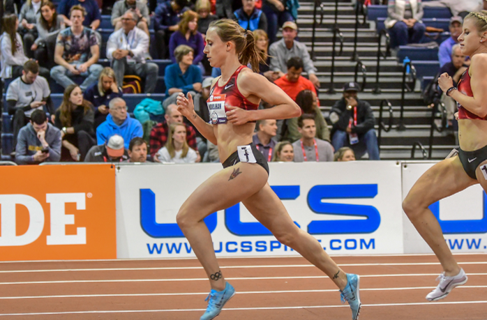 Shelby Houlihan has also won the 3000 meters (900.08) and the 1500 meters (413.07) titles at the 2018 USA Indoor Track and Field Championships in Albuquerque, New Mexico