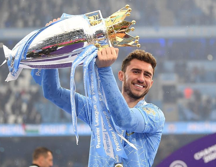 Aymeric Laporte Holding The Trophy