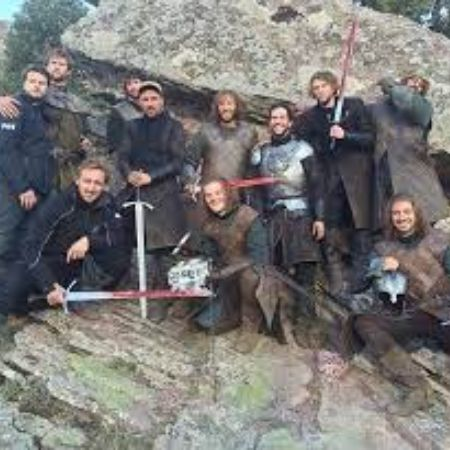 Robert Aramayo with his Game of Thrones cast members