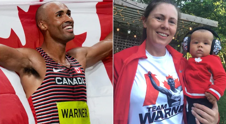 Damian Warner and his wife and their son