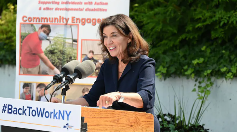 Kathy Hochul is set to serve as the 57th governor of New York following Andrew Cuomo's resignation, scheduled for 24th August 2021, which will make her the first female governor of New York