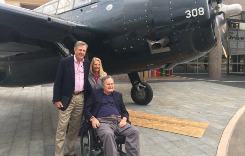 Brit with his wife and ex-president Bush