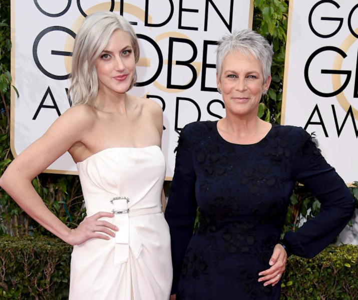 Annie Guest with her mother, Jamie Lee Curtis