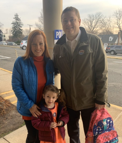 Gregory Mecher with his wife, Jen Psaki and their kid