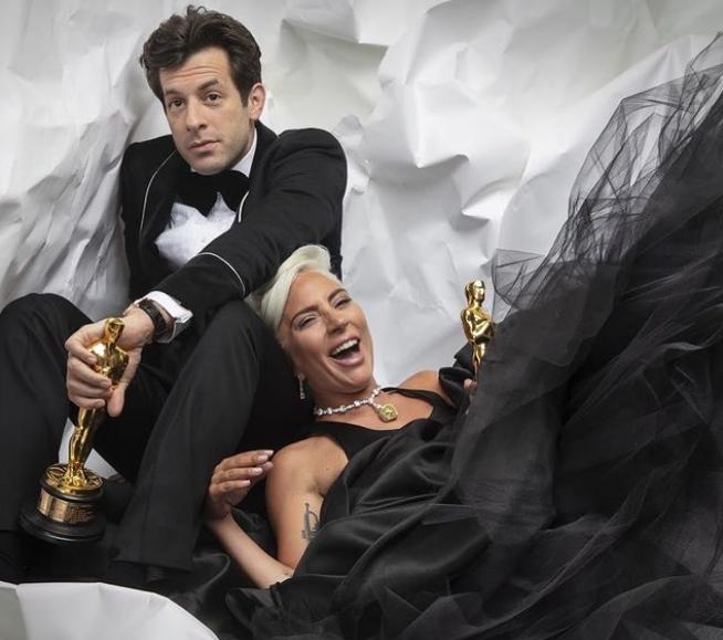 Mark Ronson and Lady Gaga with Award
