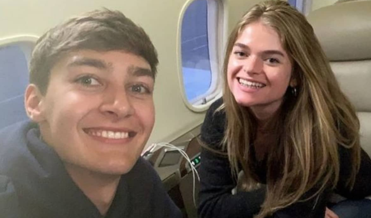 George Russell and his girlfriend, Seychelle de Vries