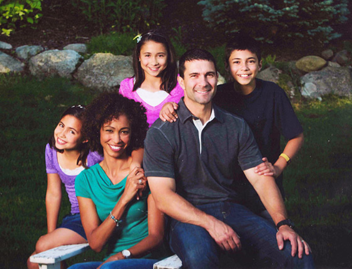 Sage Steele with her husband, and their three kids